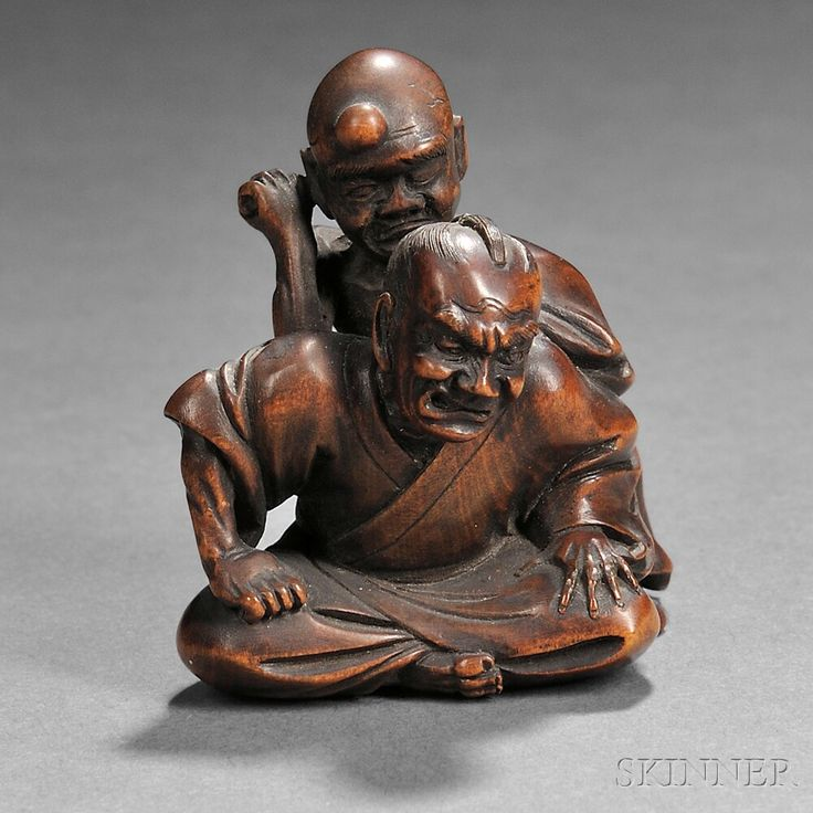 """Wood Netsuke of Two Men, Japan, 19th century, a seated samurai figure burdened with a monk elbowing his right arm in to the samurai's back, signed """"Masayuki"""" to base, ht. 1 1/4 in."""