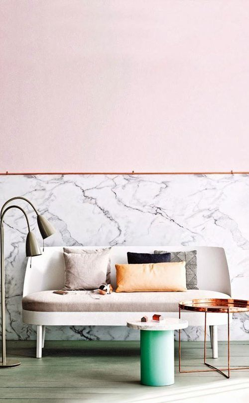 Pink // Pastels // Marble // Copper // 80s vibes in interior design //