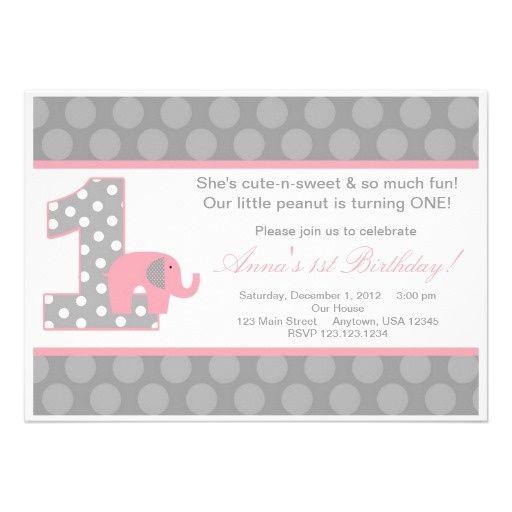 gray and pink elephant first birthday | Pink Grey Elephant Birthday Invitation at Zazzle.ca