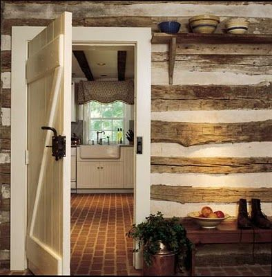 white trim in log home