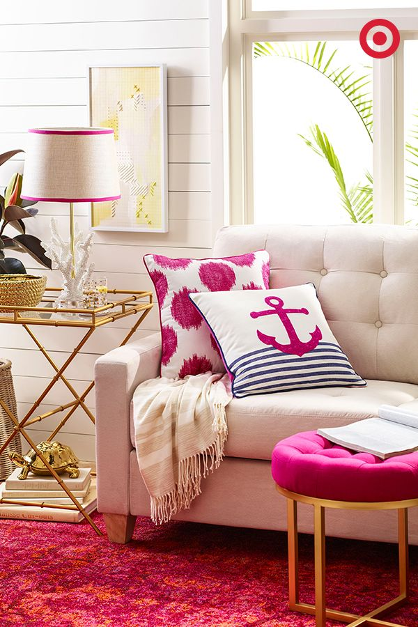 For an unexpected twist on nautical, make it pink! Mix pops of color with neutral decor for a chic, resort-like feel.