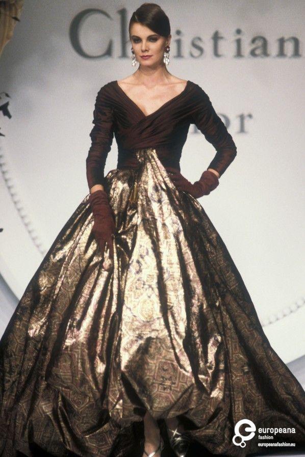 "Christian Dior, Autumn-Winter 1990, Couture on www.europeanafashion.eu  85 Reve d'Orient.  Garnet taffeta and ""carpet printed"" lame ballgown."