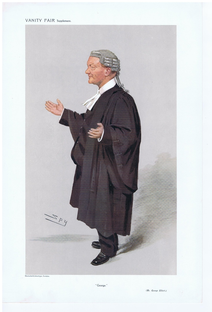 Date: 26-Feb-1908 The Vanity Fair Caricature of Mr. George Elliott With the caption of : George By the artist: SPY Visit www.theakston-thomas.co.uk for many more Vanity Fair Prints, we have one of the largest collections in the world.