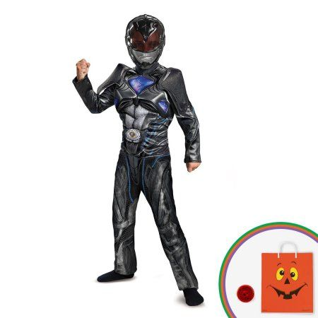Power Rangers: Black Ranger Classic Muscle Child Costume Kit with Free Gift, Boy's, Size: (10-12), Multicolor