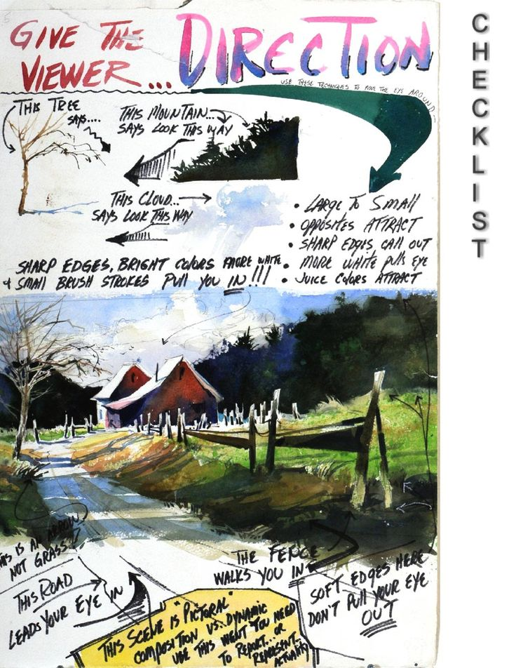 How to use perspective to give the viewer direction in your watercolour painting (watercolor)