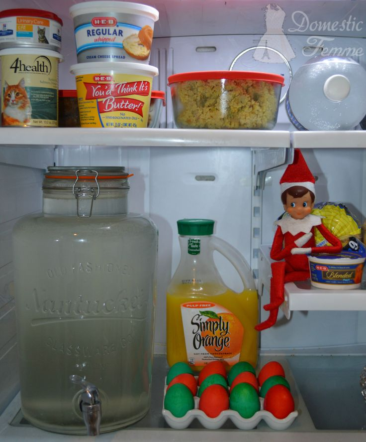Reese dyed the eggs red & green - Elf On The Shelf 2015 Calendar (25+ NEW Ideas!) w/ FREE Printables!  #Christmas #Clothes #Costume #Day #Easy #Elves #Eve #Fast #Food #First #Funny #Girl #Good #Goodbye #Hiding #Hilarious #Holiday #Jesus #Jokes #Kid #Kindness #Lazy #Magic #Minutes #Mischief #Moms #Movie #Moving #Night #Old #Pajamas #Pet #Photos #Pictures #Planner #PJs #Pranks #Quick #Random #RAK #Reindeer #Returning #Toddlers #Tradition #Tricks #Video #Xmas #Year #Young