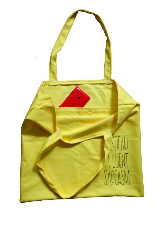 Yellow tote bag Big shopping bag wth pocket by KropkaDesign #shopping #bag #yellow #pocket