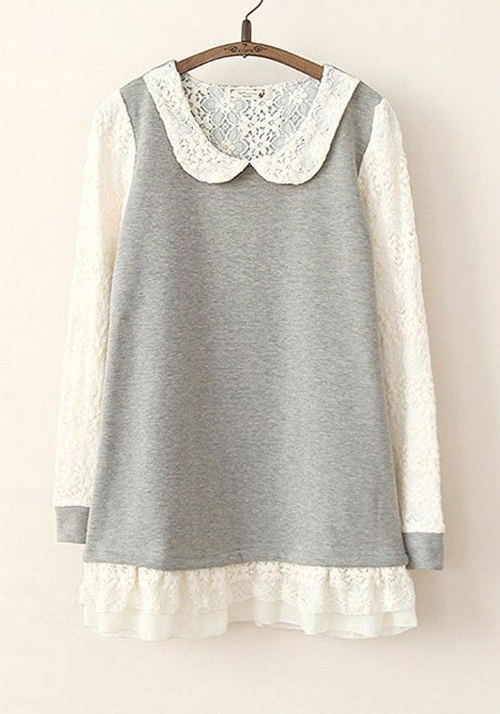 Idée pour s'inspirer et transformer des pulls avec de la dentelle. http://www.cichic.com/grey-patchwork-lace-long-sleeve-short-cotton-dress.html