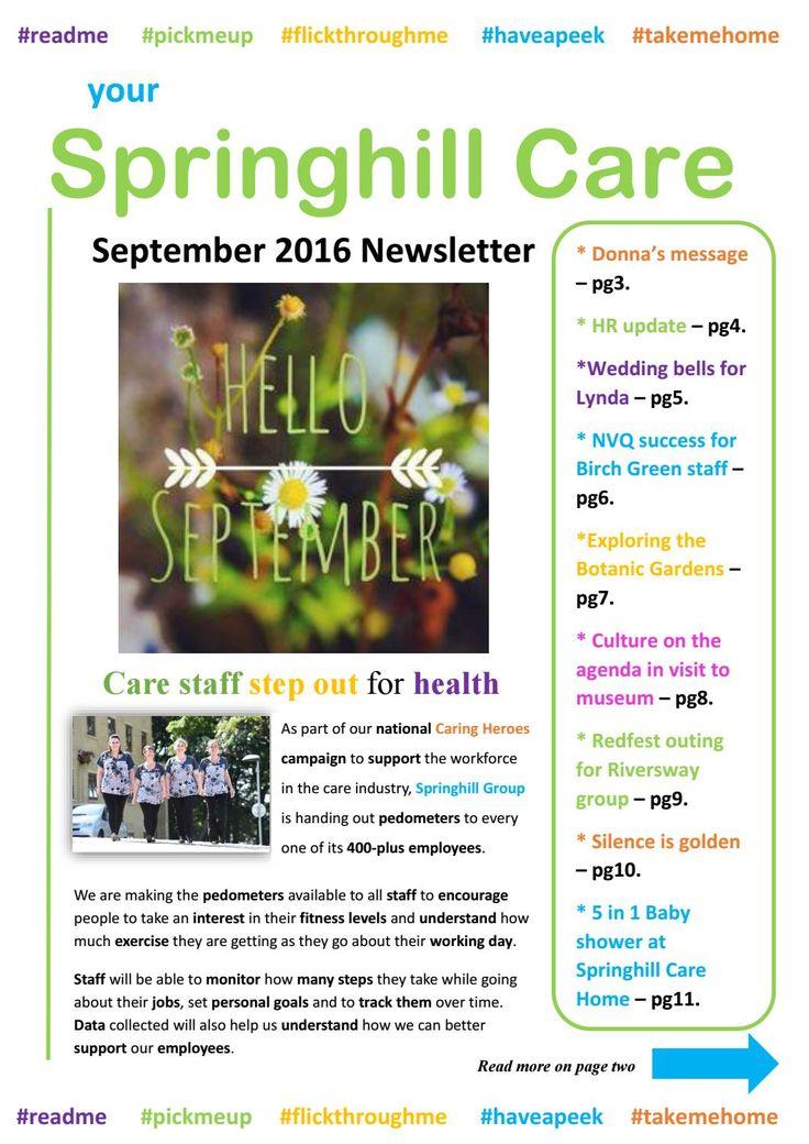 Springhill Care Group Newsletter September 2016  Our September Newsletter is…