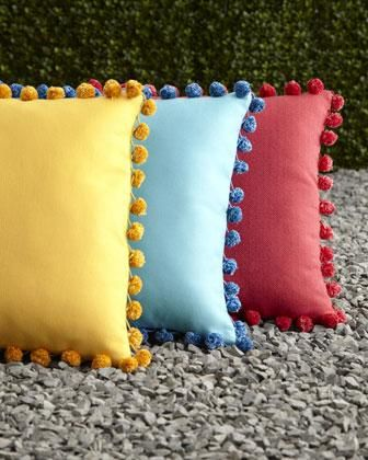ELAINE SMITH Reversible Outdoor Pom Pom Pillows - Neiman Marcus