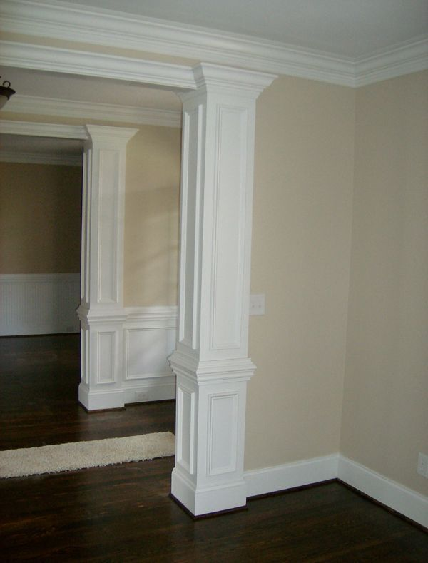 square wood columns interior home who we are remodeling handyman services custom woodworking energy - Decorative Pillars For Homes
