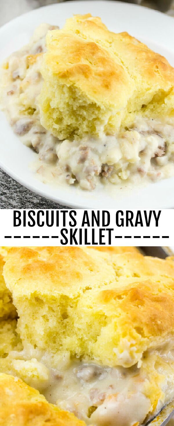 Biscuits and Gravy Skillet {A Delicious Breakfast, Lunch or Dinner Recipe} sausage/biscuits/breakfast Breakfast, lunch or dinner this Biscuits and Gravy Skillet is the perfect quick and easy meal for any time of day! via @amiller1119
