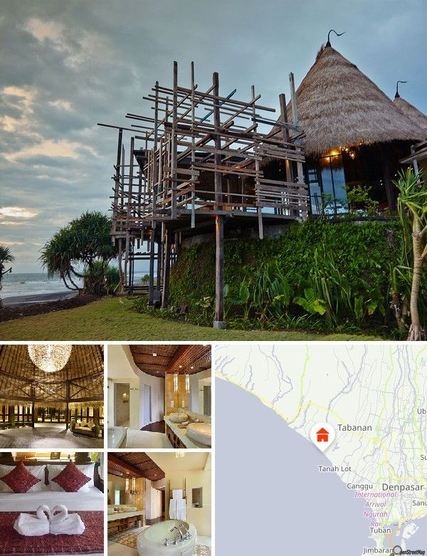 The resort is located in Sudimara Village, Tabanan Regency on the southwest coast of Bali. It is approx. 22 km (about an hour by car) from Ngurah Rai International Airport and 8 km from Tanah Lot Temple. The town of Denpasar is some 60 km away.