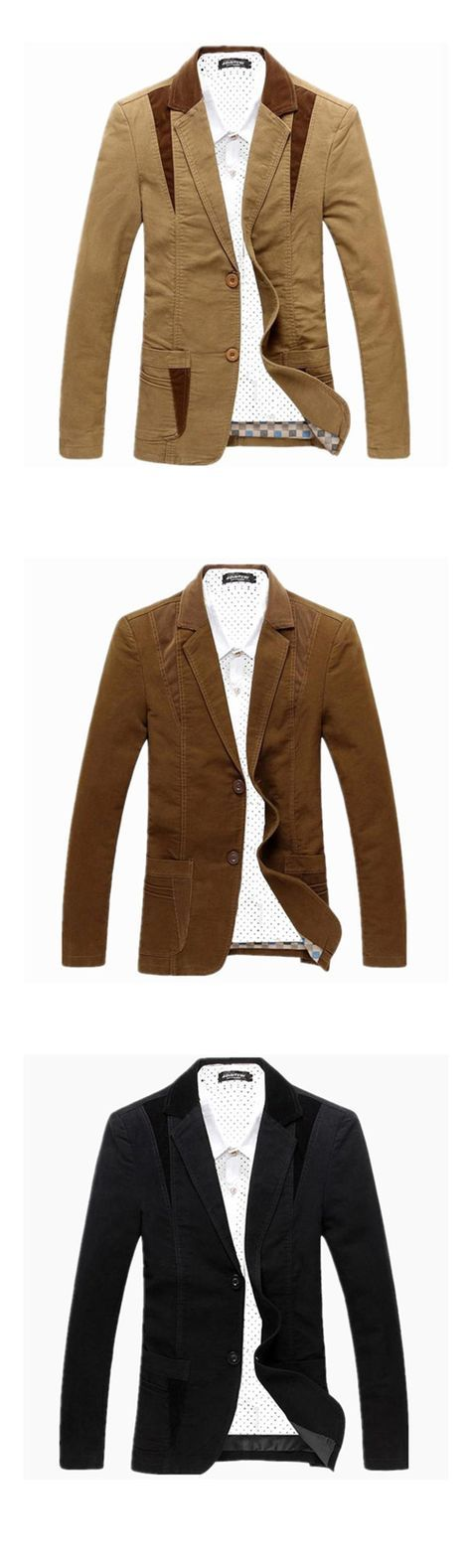 Men's Patchwork Casual / Work / Plus Sizes Blazer