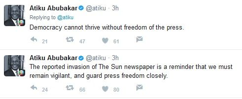 Atiku Abubakar Reacts To EFCC Invading Sun Newspaper Office