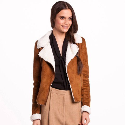 Manteau suédé fourré style Perfecto femme 3 Suisses Collection - 3Suisses