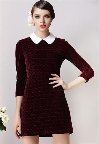 Peter pan collar dark red velvet quilted 60s style dress 10 | LolitaTortoise | ASOS Marketplace