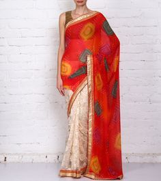 Red & Beige Embroidered Chiffon Saree #indianroots #ethnicwear #saree #chiffon #embroidered #summerwear #occasionwear