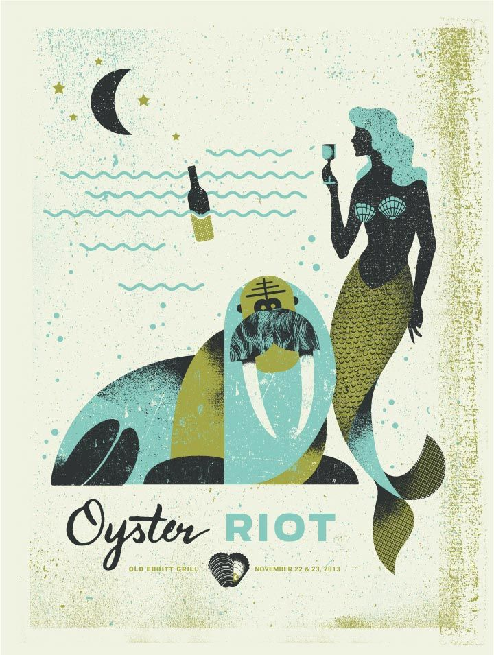 Poster by Michael Tabie. I like how he achieves the vintage/faded/shaded feel in a screenprint. (Oyster Riot | Two Arms Inc.)