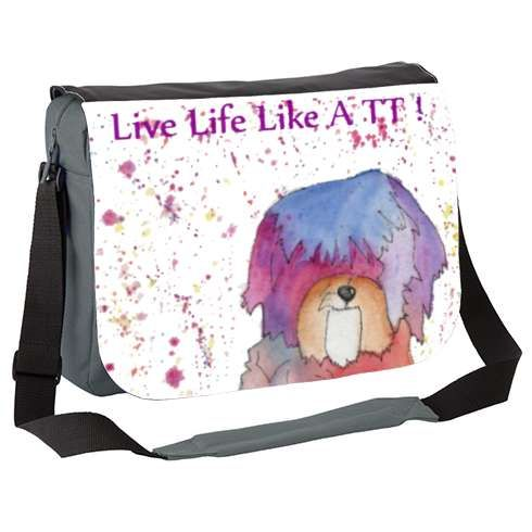 Live Life Like A TT Messenger Bag by dragonfairy   Everyone should live life like a TT! Pastel, the Tibetan Terrier knows how to make the most out of life!