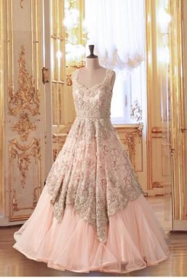 Christian Wedding Gowns - Blush Pink Wedding Gown | WedMeGood Blush Pink Sleeveless Wedding Gown with embroidery on the gown and flared frock. #wedmegood #gown #frock