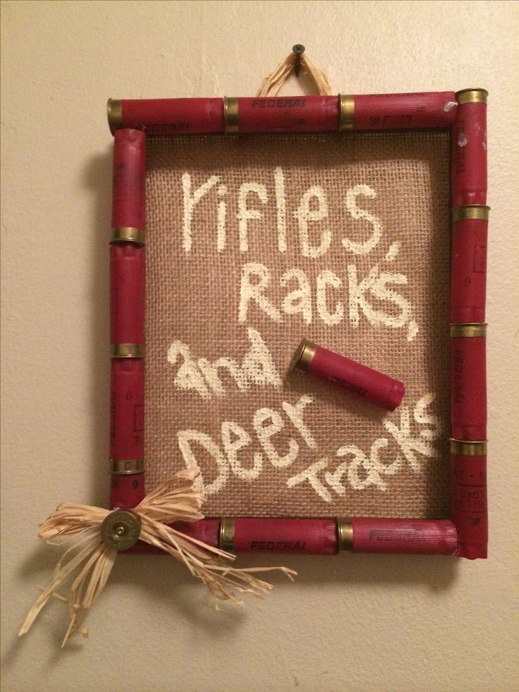 Shot gun shell frame, burlap, rifles, racks, and deer tracks, hunting baby…