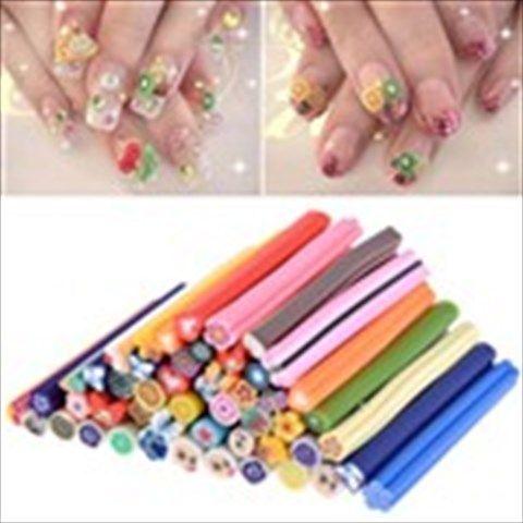 50pcs Nail Art Sticks 3D Manicure Design Rods Stickers Manicure Decoration - Pattern Assorted