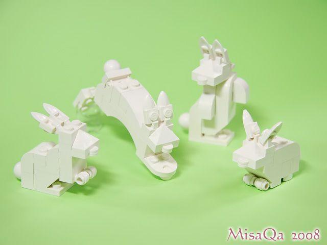 LEGO Animals white bunnies
