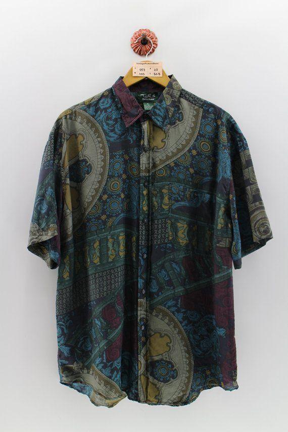 geometric shirt mens summer shirt beach shirts boho shirts hippie shirts Abstract shirts black shirt Abstract print shirts XL