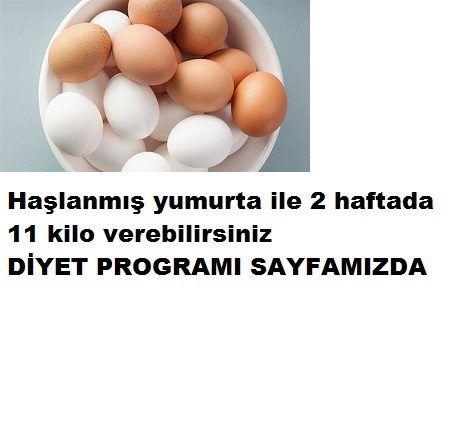 Yumurta ile 2 haftada 11 kilo verin yumurta ile 2 haftada 11 kilo verin 2 haftada 11 kilo verin Kilo vermekte zorlananlardan mısınız?O zaman bu diyet tam size göre 2 hafta içinde 11 kilo verebileceksiniz.Hemen programı verelim: İlk hafta: Pazartesi:Kahvaltı:2 haşlanmış yumurta 1 meyve Öğlen: 2 dilim kepekli ekmek ve meyve Akşam:Büyük bir yeşil salata tabağı ve tavuk ızgara Salı. kahvaltı:2 haşlanmış yumurta ve 1 meyve Öğle: Herhangi bir yeşil sebze vet avuk ızgara Akşam:Sebze salatası 1…