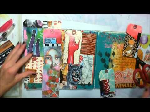 Art Journal Techniques - Tagology Part 2 - Art Geeks Ok so I dont know where part 1 is,but this is pretty cool how she makes a tip in out of tags