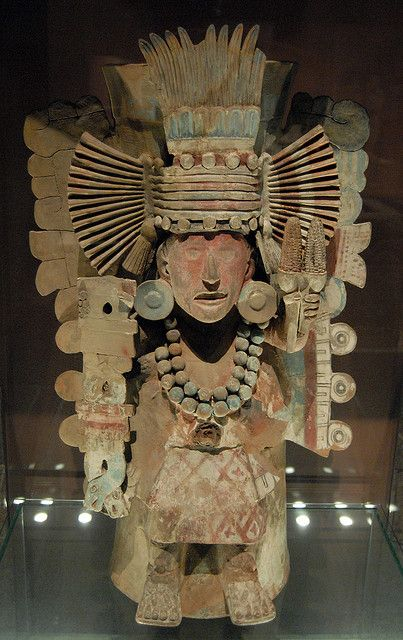 This ancient ceramic image of Xilonen, the Aztec maize goddess is on display in the national museum of anthropology in Mexico City