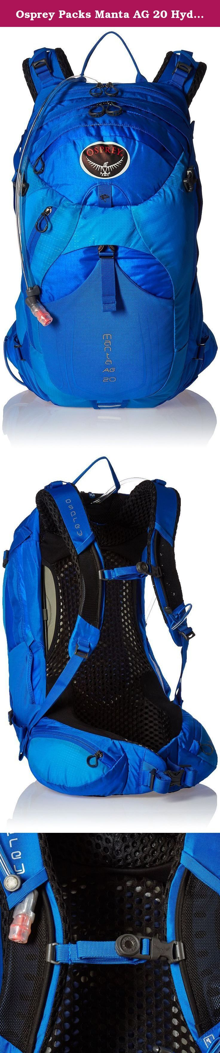 Osprey Packs Manta AG 20 Hydration Pack, Sonic Blue, One Size. Get out the door for a long walk in the hills with osprey's Manta ag 20. The anti-gravity (ag) suspension system-combination of light wire frame, mesh back panel, bio stretch shoulder harness and ag hip belt-distributes weight to keep you comfortable no matter how far you roam. Dual upper and lower compression straps help stabilize the load and provide add-on storage options if you have extra bulky gear. The pack's main...