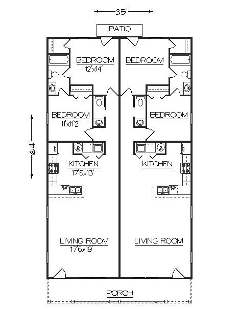 Duplex Plans on Narrow 3 Bedroom Townhouse Plan
