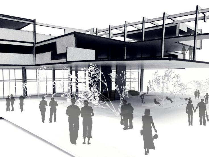 Maqueta Centro Automotriz - Recorte Espacial / Imaginario / Escenario Probable_ Plaza Pública - Mobiliario Urbano - showroom