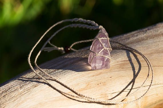Crystal Macrame Necklace  Raw Amethyst Point
