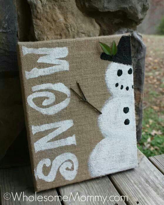 Snowman on burlap DIY