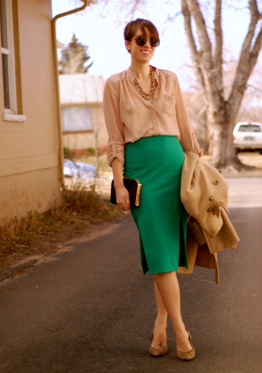 ultra long pencil skirt with slits. nude and green and leopard.