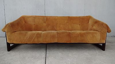 Mid century brazilian modern percival lafer suede sofa couch rosewood leather Suede sofa Mid century and Modern