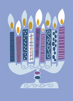 Inspiration for students to make Chanukah cards by designing each candle or cutting from scrapbook paper. Good cutting practice.