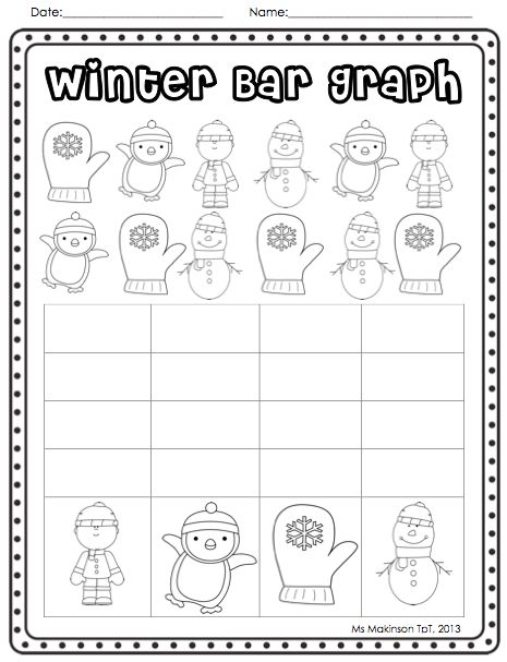 Bar Graph - Christmas and Winter Themed Literacy and Math (worksheets and centers) 100+ pages K-1