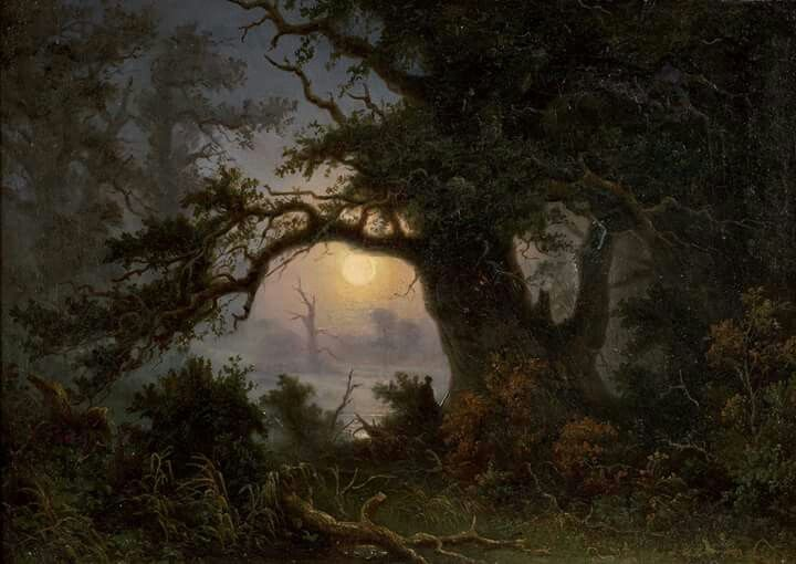 """Knud Andreassen Baade (Norwegian, 1808-1879), """"Moorland in the moonlight"""" (date unknown) Oil on canvas Private collection"""