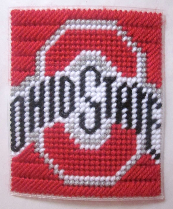Ohio State University tissue box cover in plastic canvas PATTERN ONLY