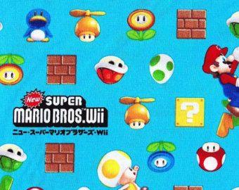 SUPER tissu Mario bleu couleur demi verge