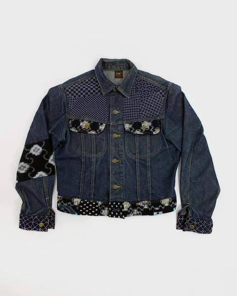 """Check out these unique products by Kirikomade in Portland! One of a Kind Vintage Denim Jacket, """"Hand-Stitched Sashiko"""""""