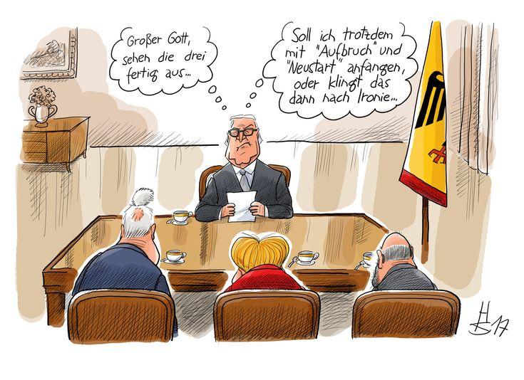 Merkel, Schulz und Seehofer bei Steinmeier
