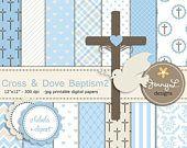 50% de descuento niño bautismo Digital papeles, Cruz Paloma Clipart, primera comunión, Semana Santa espíritu papel de Scrapbooking, bautizo, bautismo, niño De