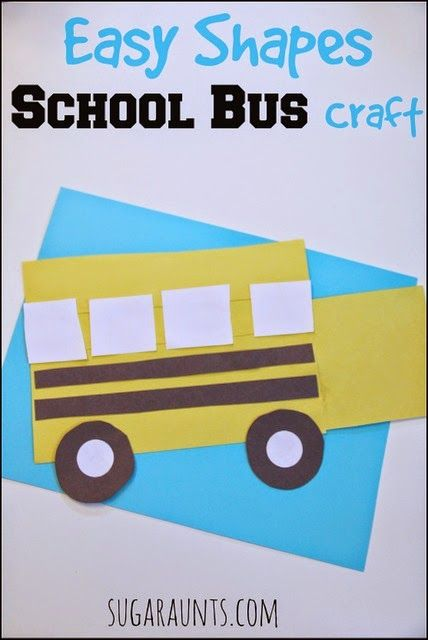 Prepare for back to school with this easy shapes school bus craft.  Identify shapes and build a bus!