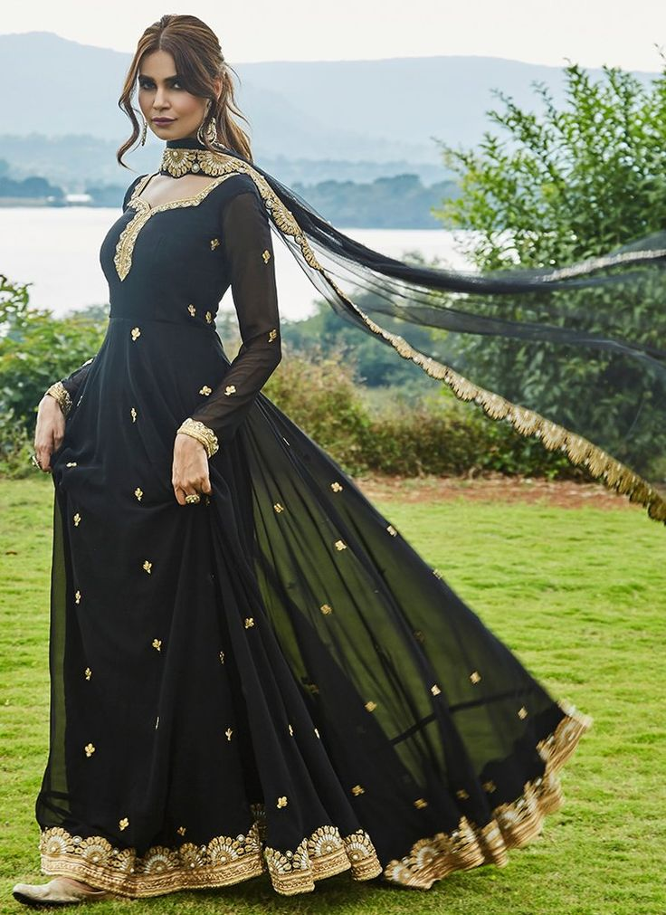 Black and Gold Embroidered Georgette Anarkali