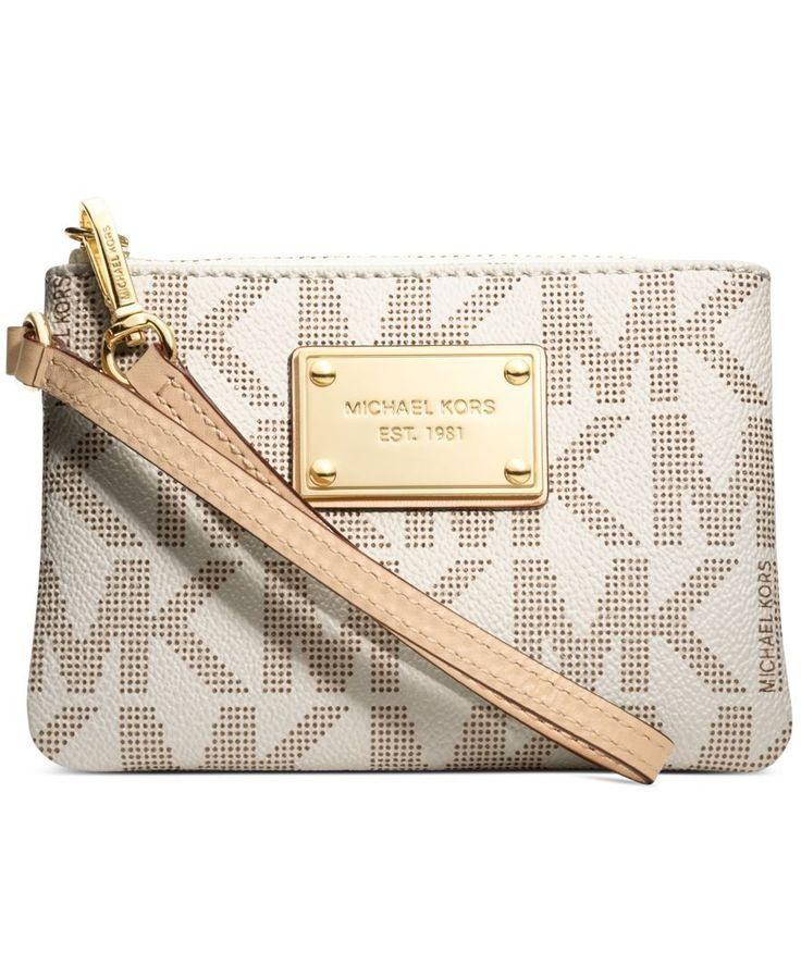 MICHAEL Michael Kors Handbag, Jet Set Small Signature Wristlet Would love this if my phone fits in it!!!!!